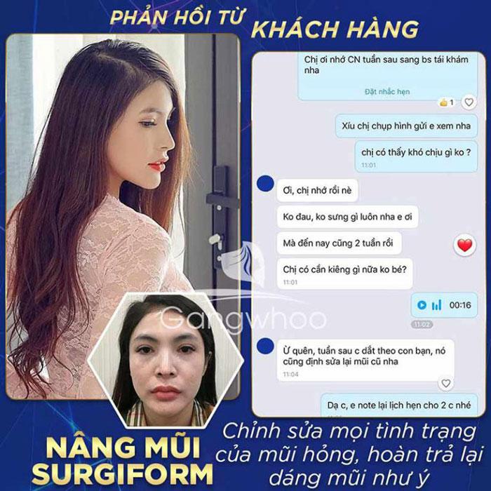 Feedback khách hàng sau khi nâng mũi tại bệnh viện thẩm mỹ Gangwhoo