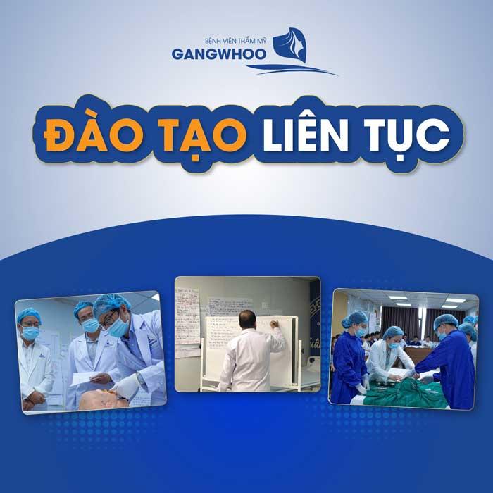 Bệnh viện thẩm mỹ Gangwhoo là đơn vị được Bộ Y tế công nhận đủ điều kiện tham gia đào tạo liên tục cán bộ y tế. Mã cơ sở đào tạo liên tục là C01.38