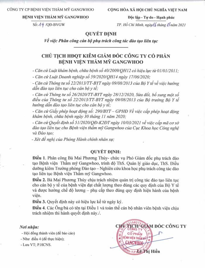 Quyết định bổ nhiệm Ths.ĐD Mai Phương Thuỷ phụ trách quản trị công tác đào tạo liên tục tại BVTM Gangwhoo