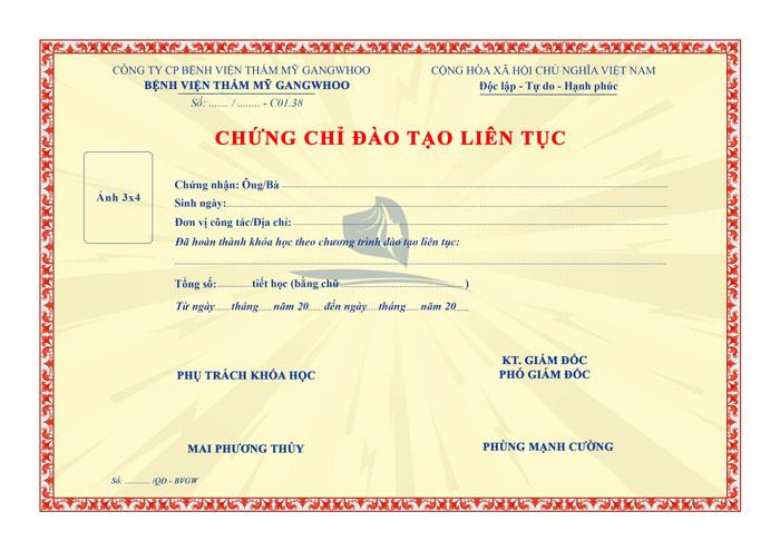 mẫu chứng chỉ đào tạo liên tục tại BVTM Gangwhoo