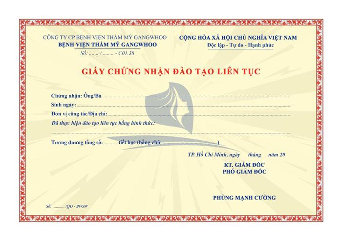 mẫu giấy chứng nhận đào tạo liên tục tại BVTM Gangwhoo