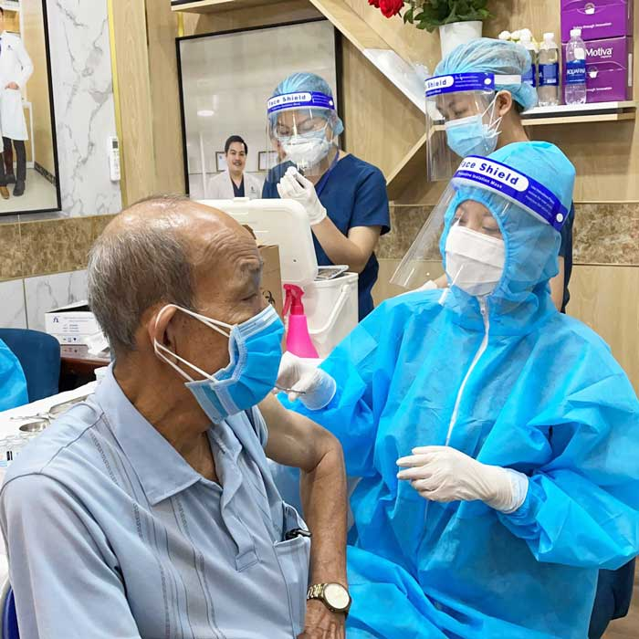 An elder came for vaccination at Gangwhoo Cosmetic Hospital