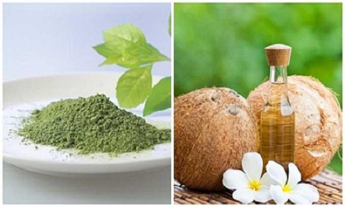Trị sẹo lõm bằng dầu dừa và bột trà xanh